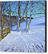 Gate And Trees Winter Dam Lane Derbyshire Canvas Print