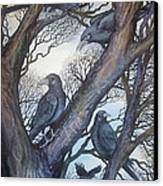 Gathering A Murder Of Crows II Canvas Print by Helen Klebesadel