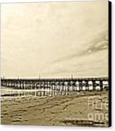 Gaviota Pier In Morning Sepia Tone Canvas Print