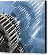 Gears Industrial Engineering In Blue Canvas Print by Christian Lagereek