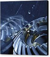 Gears Mirrored In Titanium Canvas Print by Christian Lagereek