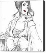 Geisha Warrior Canvas Print by Rebecca Christine Cardenas