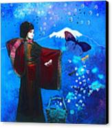 Geisha With Butterflies Canvas Print by Jeff Burgess