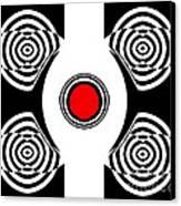 Geometric Abstract Black White Red Art No.400 Canvas Print by Drinka Mercep