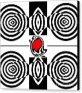Geometric Art Black White Red Abstract No.382. Canvas Print by Drinka Mercep
