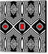 Pattern Black White Red Op Art No.389. Canvas Print by Drinka Mercep