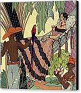 George Barbier. Spanish Lady In Hammoc With Parrot.  Canvas Print