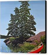 Georgian Bay Beached Canoe Canvas Print