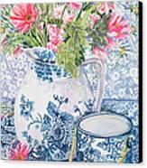 Gerberas In A Coalport Jug With Blue Pots Canvas Print
