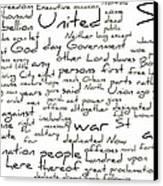 Gettysburg Address-emancipation Proclamation-second Inaugural Address-word Cloud Canvas Print by David Bearden