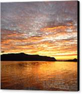 Gilded Fjord While The Sun Set Over Norwegian Mountains Canvas Print by David Schoenheit