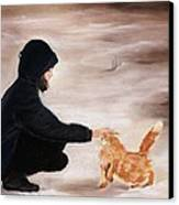 Girl And A Cat Canvas Print