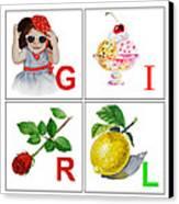 Girl Art Alphabet For Kids Room Canvas Print