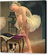 Girl Ballet Dancer Ties Her Slipper With Boston Terrier Dog Canvas Print by Pierponit Bay Archives