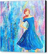 Girl In Blue Dress Canvas Print by Lauretta Curtis