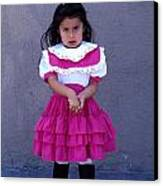 Girl In Pink Dress Canvas Print by Mark Goebel
