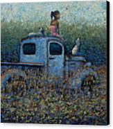 Girl On A Truck Canvas Print by Ned Shuchter