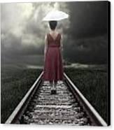 Girl On Tracks Canvas Print