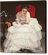 Girl Reading Canvas Print by Alfred Emile Stevens