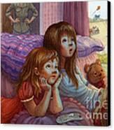 Girls Staring At Tv Canvas Print by Isabella Kung