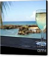 Glass Of Fresh Wine By Tropical Beach Canvas Print