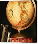 Globe And Books Canvas Print