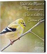 Gold Finch On Twig With Verse Canvas Print