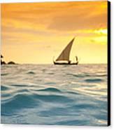 Golden Dhoni Sunset Canvas Print