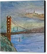 Golden Gate Bridge And Sailing Canvas Print by Anais DelaVega