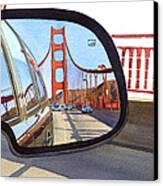 Golden Gate Bridge In Side View Mirror Canvas Print by Mary Helmreich
