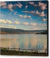 Golden Reflection On Lake Cascade Canvas Print by Robert Bales