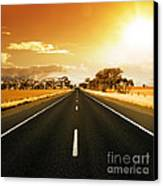 Golden Sky And Road Canvas Print by Boon Mee