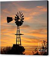 Golden Windmill Silhouette Canvas Print