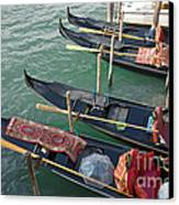Gondolas Waiting For Tourists In Venice Canvas Print by Kiril Stanchev