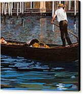 Gondoliere Sul Canale Canvas Print by Guido Borelli