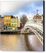 Graceful Ha'penny Bridge Over River Liffey Canvas Print