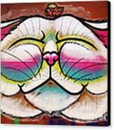 Graffiti Smiling Cat With Bird Canvas Print by Victoria Herrera