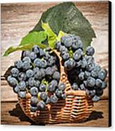 Grapes And Leaves In Basket Canvas Print by Len Romanick