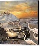 Grateful Friends Curious Egrets Canvas Print by Betsy Knapp
