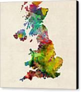 Great Britain Watercolor Map Canvas Print