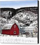 Great Canadian Red Barn In Winter Canvas Print by Peter v Quenter