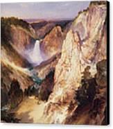 Great Falls Of Yellowstone Canvas Print by Thomas Moran