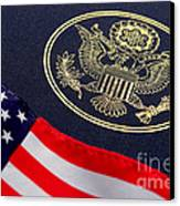 Great Seal Of The United States And American Flag Canvas Print by Olivier Le Queinec
