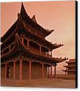 Great Wall Pagoda At Sunset Canvas Print by Gordon  Grimwade