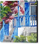 Greec House Canvas Print by Soumya Bouchachi