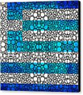 Greek Flag - Greece Stone Rock'd Art By Sharon Cummings Canvas Print