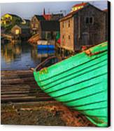 Green Boat Peggys Cove Canvas Print