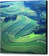 Green Farm Contours Aerial Canvas Print by Blair Seitz