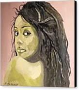 Green Girl  Canvas Print by Roger Medcalf