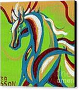 Green Horse Canvas Print by Genevieve Esson